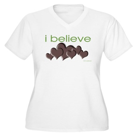 I believe in chocolate Women's Plus Size V-Neck T-