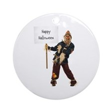 Scarecrow Warning Round Ornament
