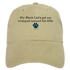 Wrapped Around His Paw (Black Lab) Baseball Cap