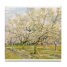 Van Gogh The White Orchard Tile Coaster