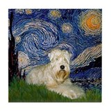 Starry Night &amp; Wheaten Terrier Tile Coaster