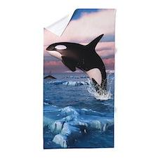 Killer Whales In The Arctic Ocean Beach Towel