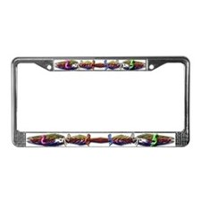 Colorful Kokopelli Banner License Plate Frame