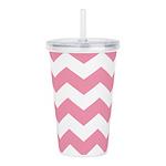 Chevron Zigzag Pink Acrylic Double-wall Tumbler