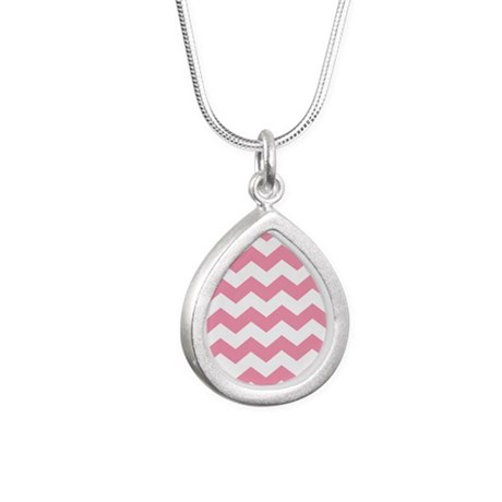 Chevron Zigzag Pink Silver Teardrop Necklace