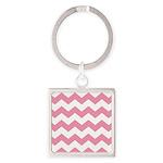 Chevron Zigzag Pink Square Keychain