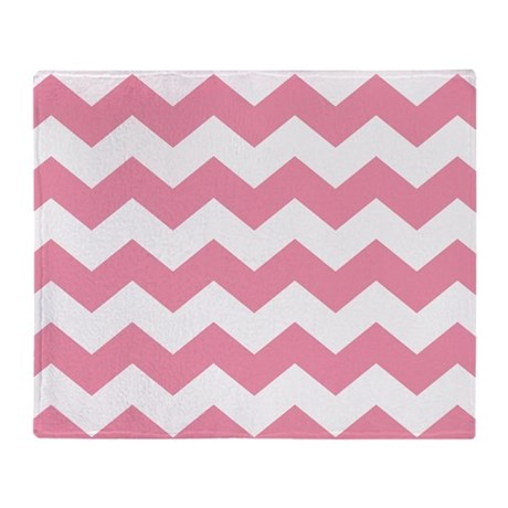 Chevron Zigzag Pink Throw Blanket
