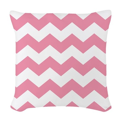 Chevron Zigzag Pink Woven Throw Pillow
