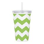 Chevron Zigzag Green Acrylic Double-wall Tumbler