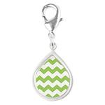 Chevron Zigzag Green Silver Teardrop Charm