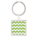 Chevron Zigzag Green Square Keychain