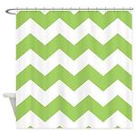 Chevron Zigzag Green Shower Curtain