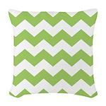 Chevron Zigzag Green Woven Throw Pillow