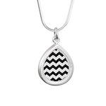 Chevron Zigzag Black Silver Teardrop Necklace
