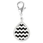Chevron Zigzag Black Silver Teardrop Charm