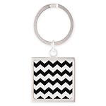 Chevron Zigzag Black Square Keychain