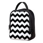 Chevron Zigzag Black Neoprene Lunch Bag