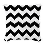 Chevron Zigzag Black Woven Throw Pillow