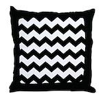 Chevron Zigzag Black Throw Pillow