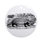 Drawing of a Badger Ornament (Round)