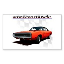 1970 Dodge Charger Red Rectangle Decal