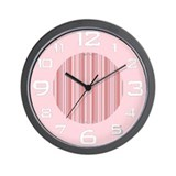 Retro Pink Pinstripes 'Quitting Time' Wall Clock