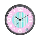 Retro Wall Clock in Creamy Pink