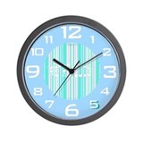 Retro Wall Clock in Hydrangea Blue