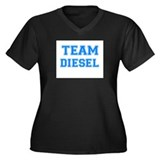 TEAM DIESEL Women's Plus Size V-Neck Dark T-Shirt