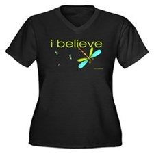 I believe in dragonflies Women's Plus Size V-Neck