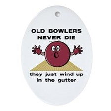 Old Bowlers Never Die Oval Ornament