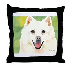 Cute American eskimo dog Throw Pillow