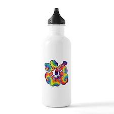 hibiscus tie dye 1 Water Bottle