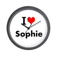 I Love Heart Custom Name (sophie) Text Wall Clock