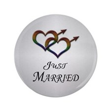 "Just Married Gay Pride 3.5"" Button"