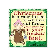 "Aunty Acid Christmas Square Sticker 3"" x 3"""