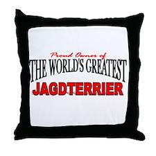 """The World's Greatest Jagdterrier"" Throw Pillow"