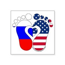 "Russian American Baby Square Sticker 3"" x 3"""