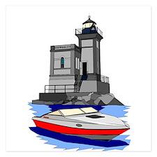 Huntington NY Lighthouse with boat Invitations
