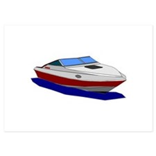 Red Cuddy Cabin Power Boat Invitations
