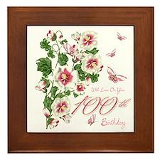 100th Birthday Pink Floral Vine Framed Tile