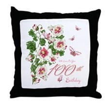 100th Birthday Pink Floral Vine Throw Pillow