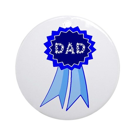 Dad's Blue Ribbon Ornament (Round)