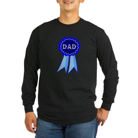 Dad's Blue Ribbon Long Sleeve Dark T-Shirt