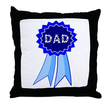 Dad's Blue Ribbon Throw Pillow