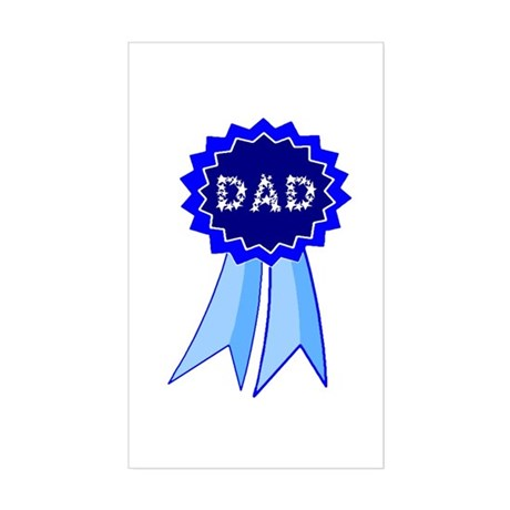 Dad's Blue Ribbon Rectangle Sticker