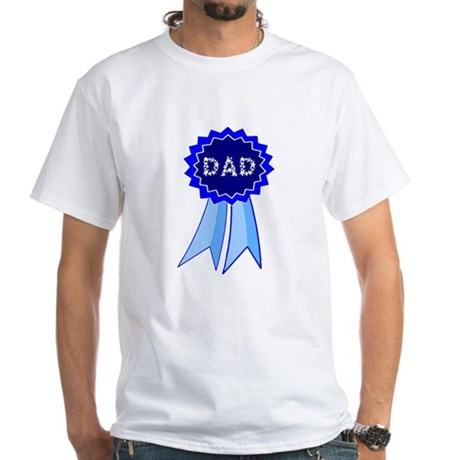 Dad's Blue Ribbon White T-Shirt