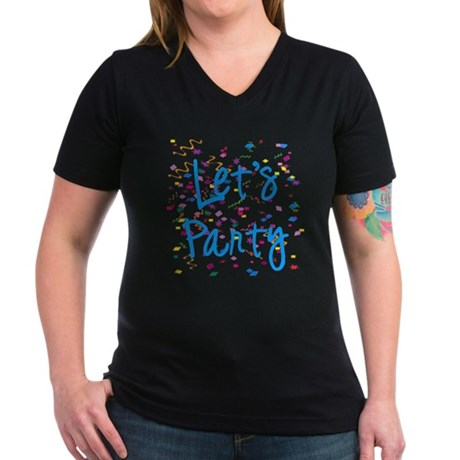 Let's Party Women's V-Neck Dark T-Shirt