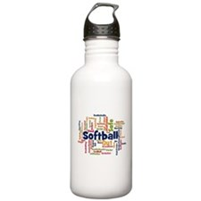 Softball Word Cloud Water Bottle