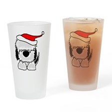 Sheepdog Christmas Drinking Glass